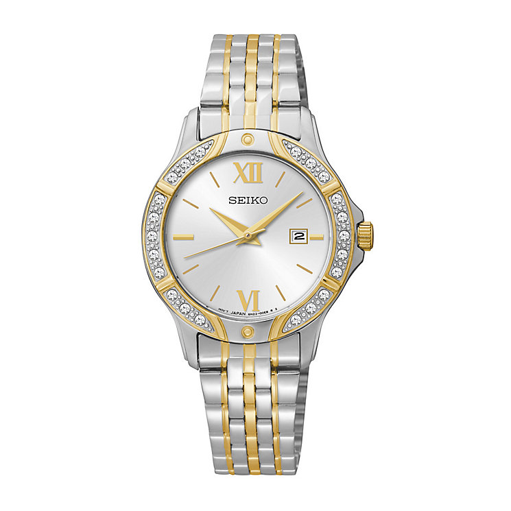 seiko watches men s ladies kinetic and solar h samuel seiko ladies two tone swarovski elements bracelet watch product number 2825775