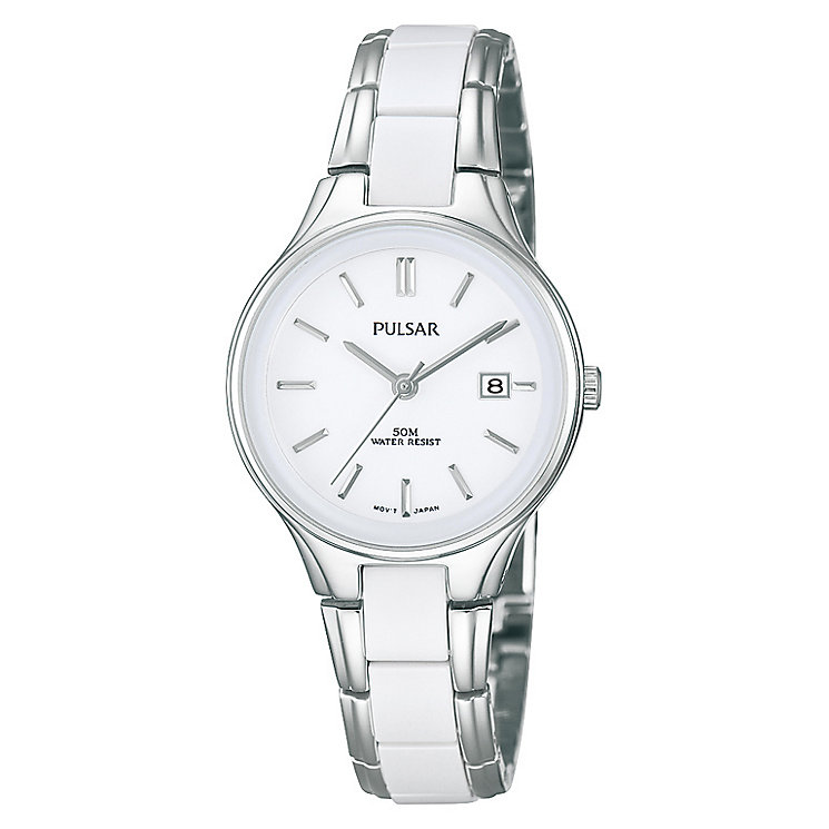 Pulsar Ladies Stainless Steel & White Ceramic Bracelet Watch - Product number 2825821