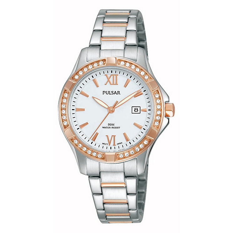 Pulsar Ladies' Crystal Set Two Tone Bracelet Watch - Product number 2825864