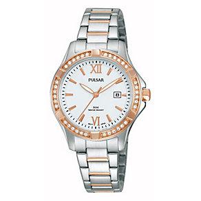 Pulsar Ladies' Crystal Set Two Tone Bracelet Watch - Product number 2825864