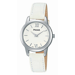 Pulsar Ladies' Stainless Steel & White Leather Strap Watch - Product number 2825880