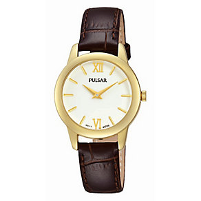 Pulsar Ladies Yellow Gold Plate & Brown Leather Strap Watch - Product number 2825902