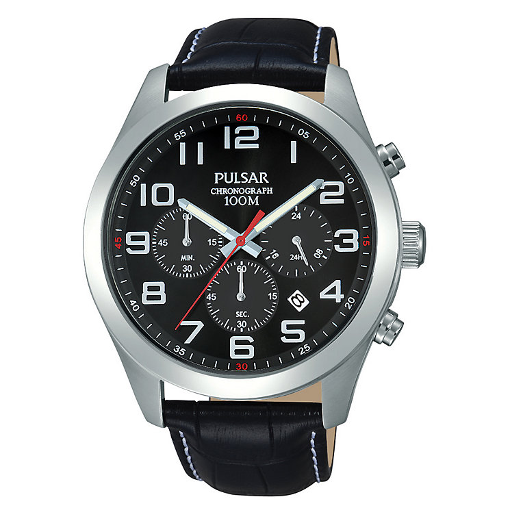 Pulsar Men's Black Dial & Black Leather Strap Watch - Product number 2826097