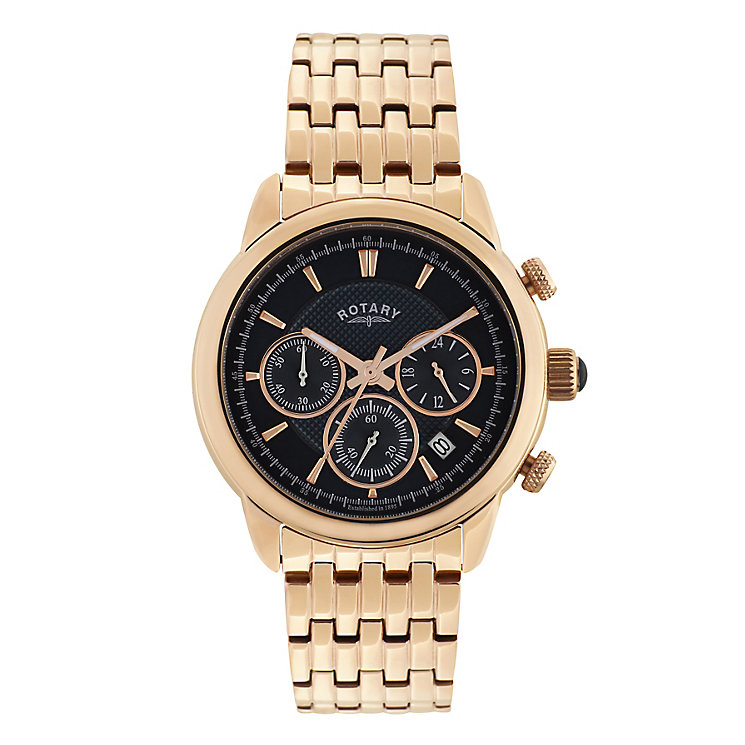 Rotary Men's Monaco Rose Gold Tone Blue Dial Bracelet Watch - Product number 2826119