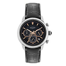 Rotary Men's Black Dial & Black Leather Strap Watch - Product number 2826178