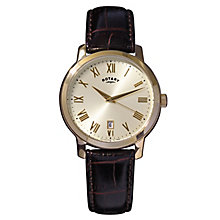 Rotary Men's Champagne Dial & Brown Leather Strap Watch - Product number 2826259