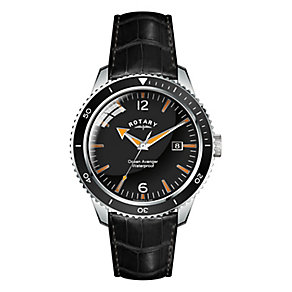 Rotary Men's Ocean Avenger Black Leather Strap Watch - Product number 2826380