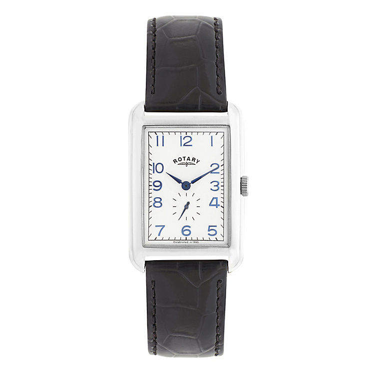 Rotary Men's Rectangular Dial Black Leather Strap Watch - Product number 2826852