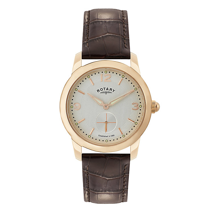 Rotary Men's White Dial Brown Leather Strap Watch - Product number 2827034