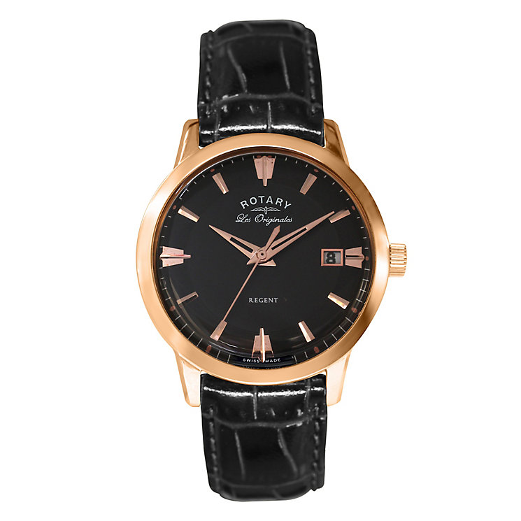 Rotary Men's Black Leather & Dial Watch - Product number 2827204