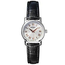 Rotary Ladies' Silver Tone Dial Black Leather Strap Watch - Product number 2827387