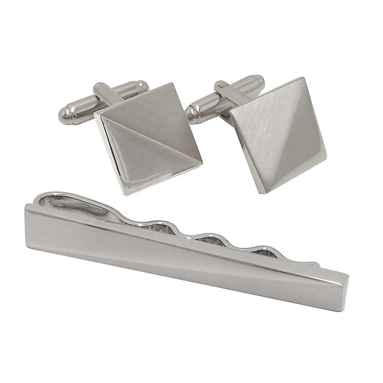 Brushed & Polished Silver Tone Cufflink & Tie Pin Set - Product number 2827891