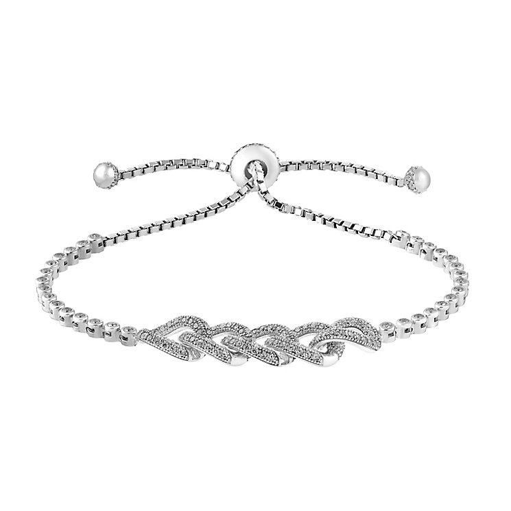 Sterling silver and cubic zirconia link d-string bracelet - Product number 2828065