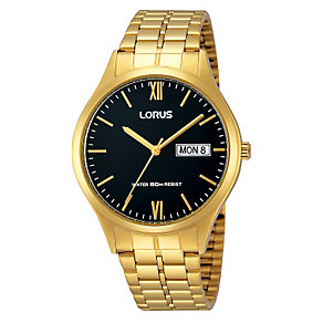 Lorus Men's Black Dial & Yellow Gold Plated Bracelet Watch - Product number 2828073