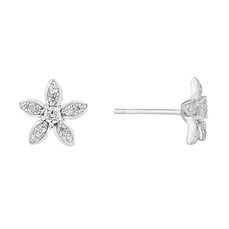 Silver and cubic zirconia flower stud earrings - Product number 2828111