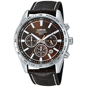 Lorus Men's Stainless Steel & Brown Leather Strap Watch - Product number 2828138
