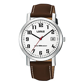 Lorus Men's Stainless Steel & Brown Leather Strap Watch - Product number 2828162