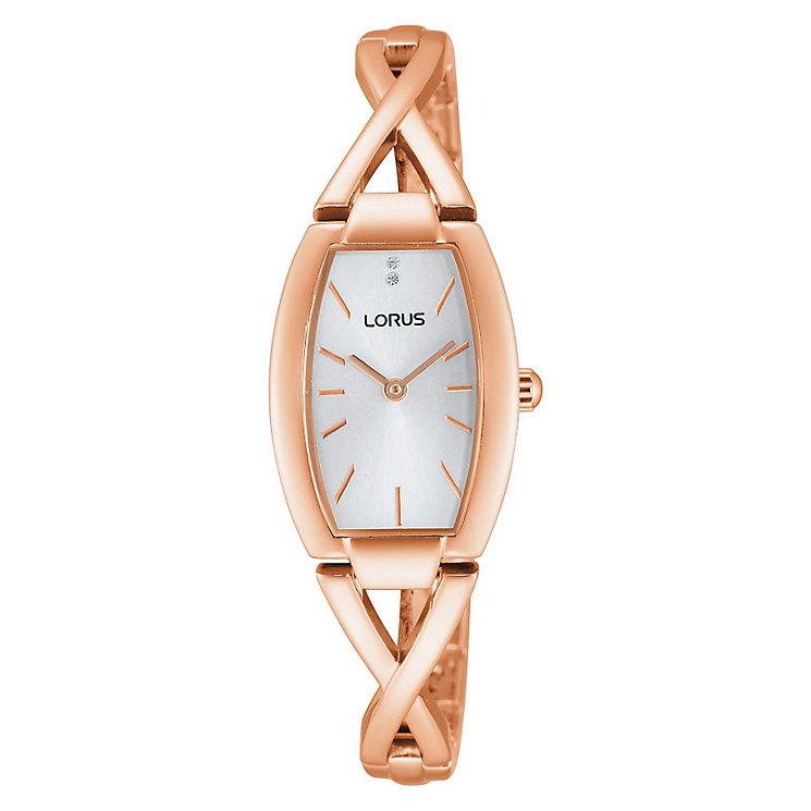 Lorus Ladies' Crystal Set Rose Gold Plate Bracelet Watch - Product number 2828294