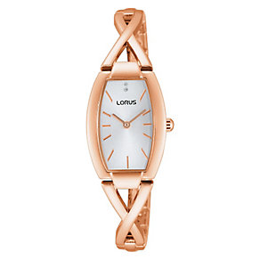 Lorus Ladies' Crystal Set Rose Gold Plate Bracelet Watch - Product number 2828294