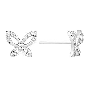 Silver and cubic zirconia butterfly stud earrings - Product number 2828499