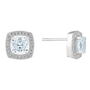 Silver and cubic zirconia cushion stud earrings - Product number 2828502