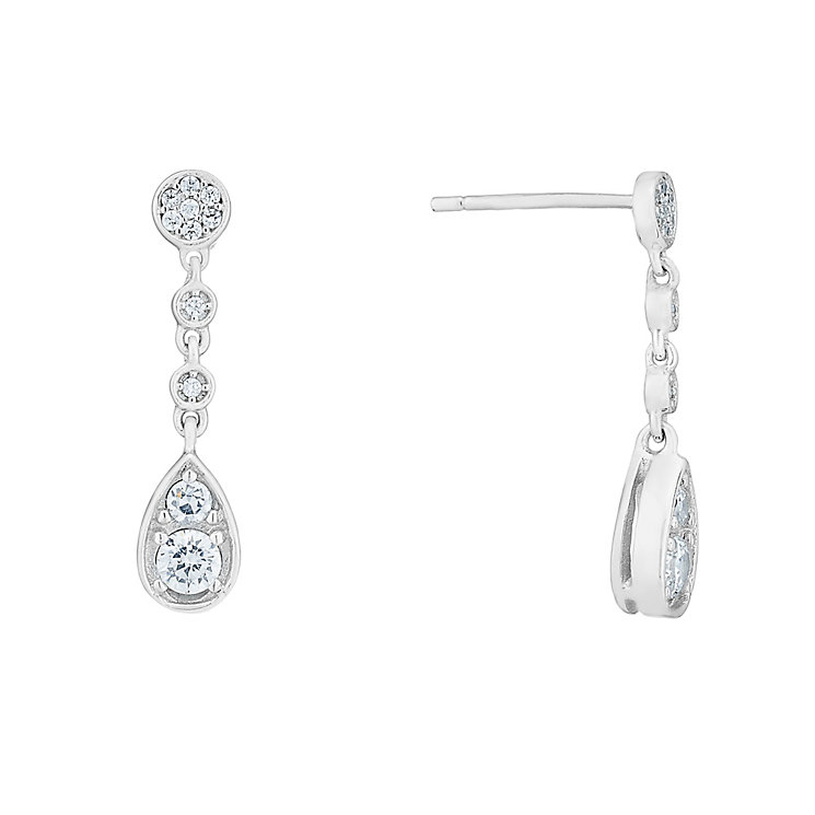 Sterling silver and cubic zirconia long drop earrings - Product number 2828537
