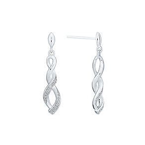 Silver and cubic zirconia twist drop earrings - Product number 2828545