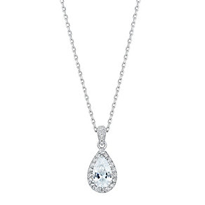 Sterling silver and cubic zirconia pear drop pendant - Product number 2828693