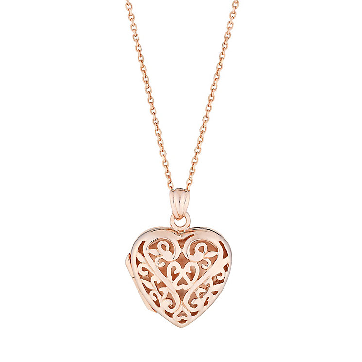Rose gold-plated and silver filigree locket - Product number 2829614