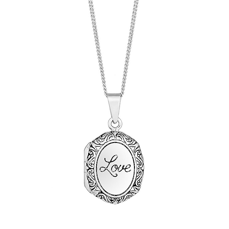 Sterling silver love oval locket - Product number 2830094