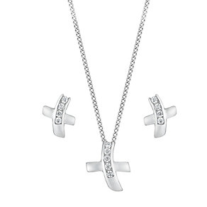 Silver and cubic zirconia cross earring and pendant set - Product number 2830108
