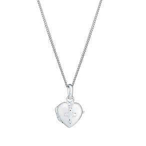 Sterling silver child's heart and cross locket - Product number 2830159