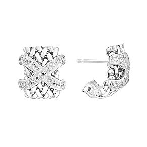 Sterling silver and cubic zirconia cross woven earrings - Product number 2830256