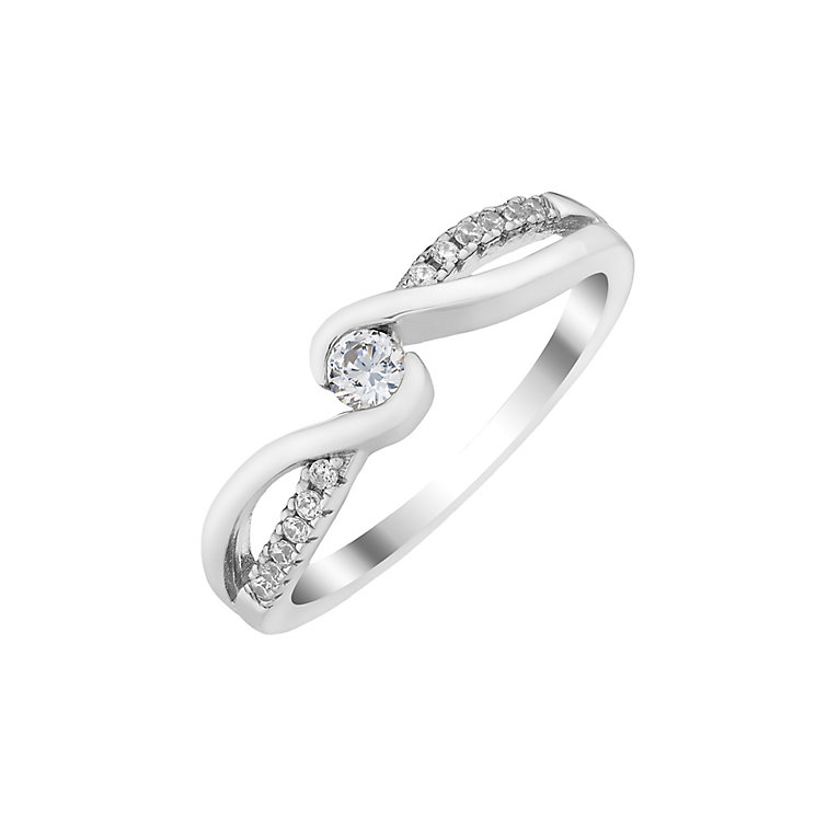 Silver and cubic zirconia twist ring - Product number 2830817