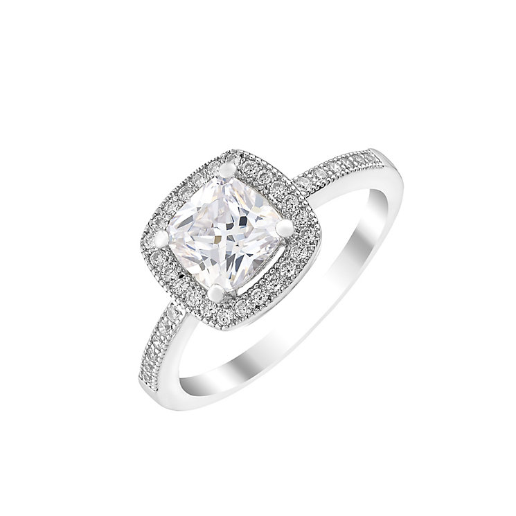 Silver and cubic zirconia halo ring - Product number 2831082