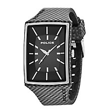 Police Men's Black Rectangular Dial & Silicone Strap Watch - Product number 2831821