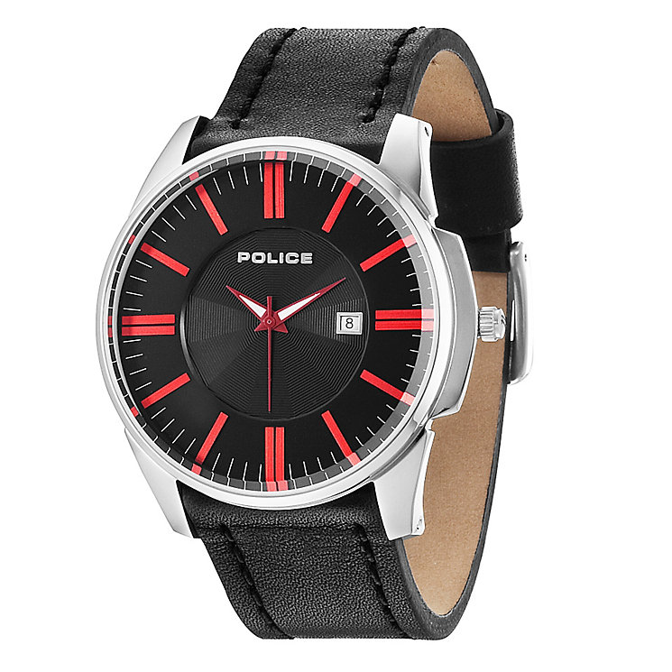 Police Men's Red & Black Leather Strap Watch - Product number 2831880