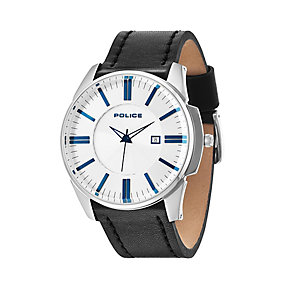 Police Men's White Dial & Black Leather Strap Watch - Product number 2832089