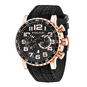 Police Men's Rose Gold Plate & Black Silicone Strap Watch - Product number 2832097