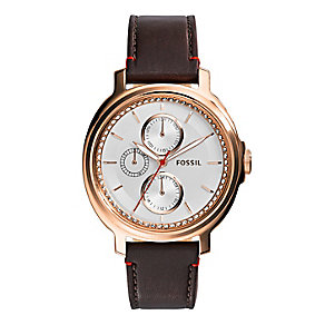 Fossil ladies' rose gold-plated brown leather strap watch - Product number 2832283