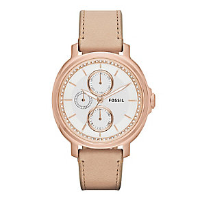 Fossil ladies' rose gold-plated nude leather strap watch - Product number 2832291