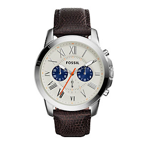 Fossil Grant men's stainless steel brown leather strap watch - Product number 2832364