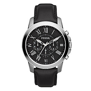 Fossil Grant men's stainless steel black leather strap watch - Product number 2832372