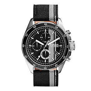 Fossil Decker men's stainless steel black fabric strap watch - Product number 2832399