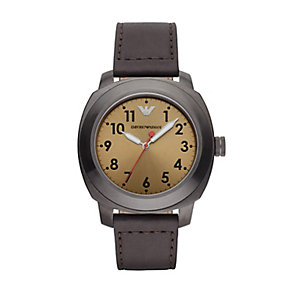 Emporio Armani men's brown leather strap watch - Product number 2832410