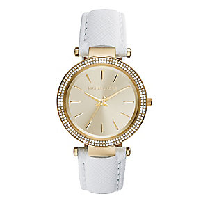 Michael Kors gold plated white leather strap watch - Product number 2832801