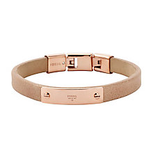 Fossil leather and rose gold tone bracelet - Product number 2832968