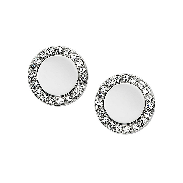 Fossil stainless steel round stone set earrings - Product number 2832992