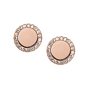 Fossil rose gold tone round stone set earrings - Product number 2833018