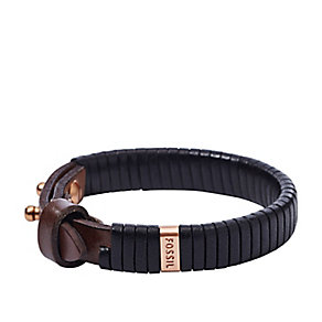 Fossil men's black leather bracelet - Product number 2833026
